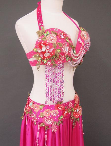 ピンクグリーンベリーダンス衣装5 ミラーナ