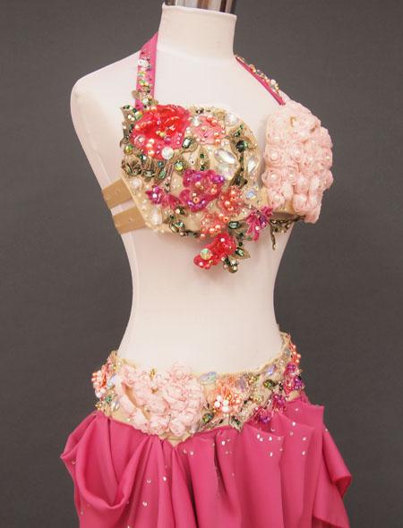 気品溢れるローズのベリーダンス衣装5 MiLLANA