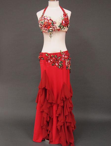 【ベリーダンス衣装】大人気!赤×バラのデザイン!/フリルたっぷりでエレガント!キラキラと輝く装飾が目をひくこと間違い無しのオリエンタル・コスチューム