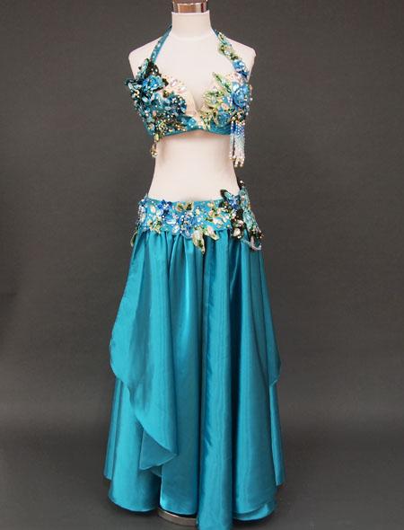 【ベリーダンス衣装】大人気のターコイズ!可憐で大人っぽく高級感溢れる衣装!美しくステージ映えするオリエンタル・コスチューム