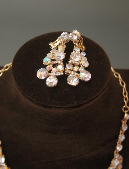 ゴールドチェーンサークルストーン ネックレス・イヤリング3 ミラーナベリーダンス衣装