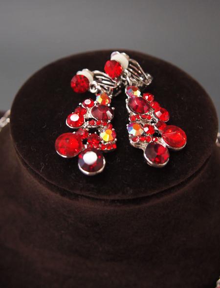 ガーネットのような輝き!ネックレスとイヤリングのセット3 ミラーナベリーダンス衣装