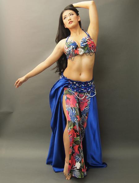 花柄青ベーストロピカルなベリーダンス衣装1 ミラーナ