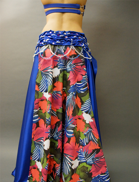 花柄青ベーストロピカルなベリーダンス衣装 ミラーナ