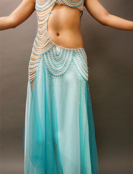 アシハスカル/ブルーのビーズが素敵な一体型ベリーダンス衣装3 ミラーナ