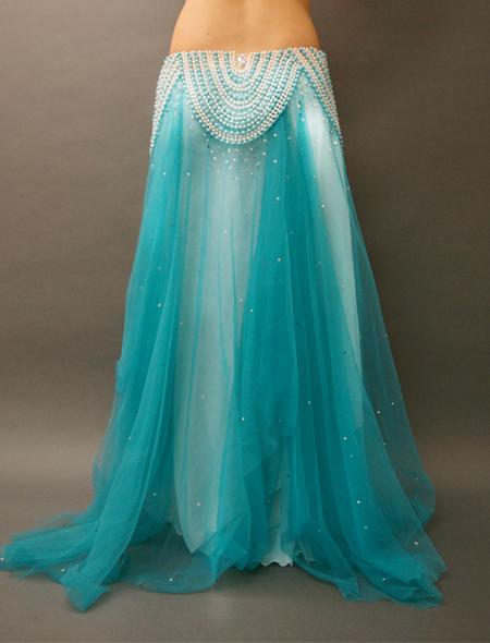 アシハスカル/ブルーのビーズが素敵な一体型ベリーダンス衣装 ミラーナ