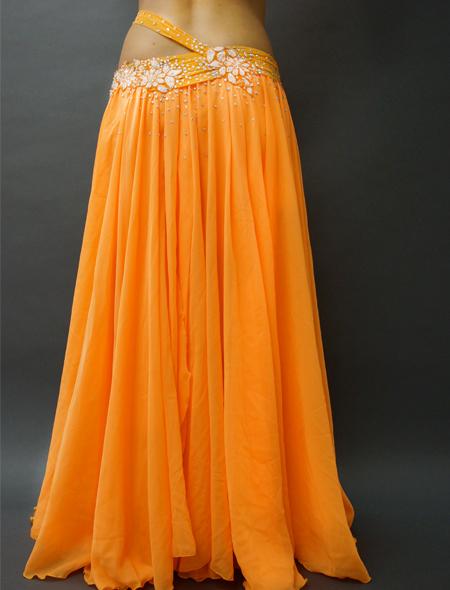 アシハスカル/オレンジの花柄一体型ベリーダンス衣装 ミラーナ