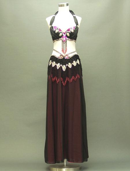 黒とピンクで可愛らしさを演出!格安ベリーダンス衣装 ミラーナ