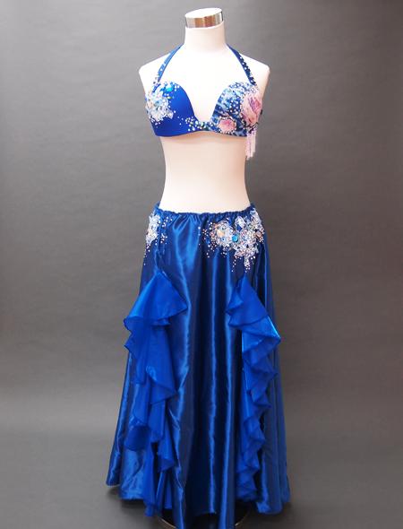 ブルーフリルコスチューム ミラーナベリーダンス衣装