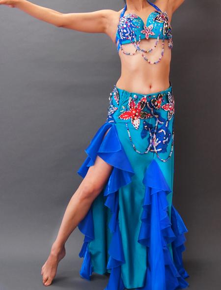 【00036】鮮やかな花モチーフにブルー&エメラルドグリーンのストレッチ素材のベリーダンス衣装