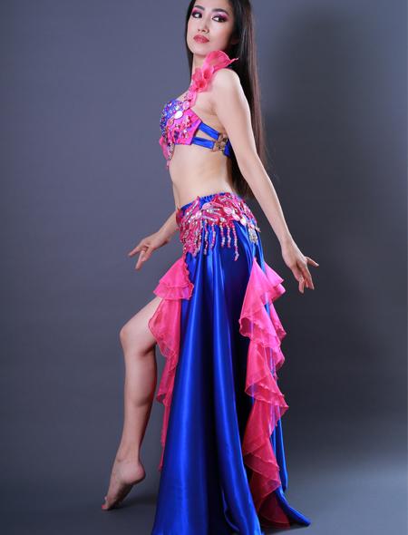 青フリル3 ミラーナベリーダンス衣装