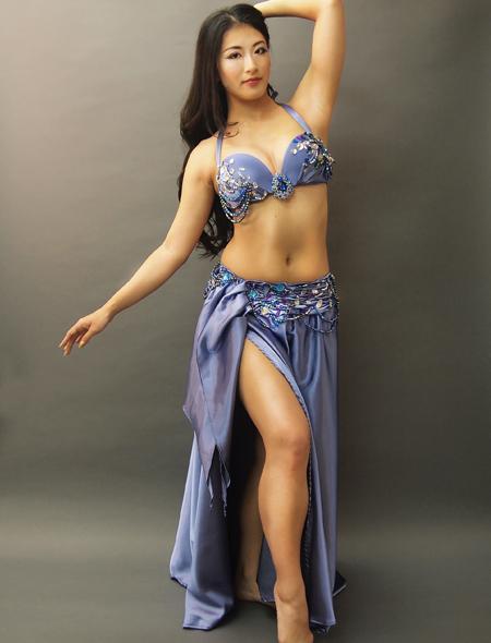 ブルーグレイでドラマティックなベリーダンス衣装1 ミラーナ