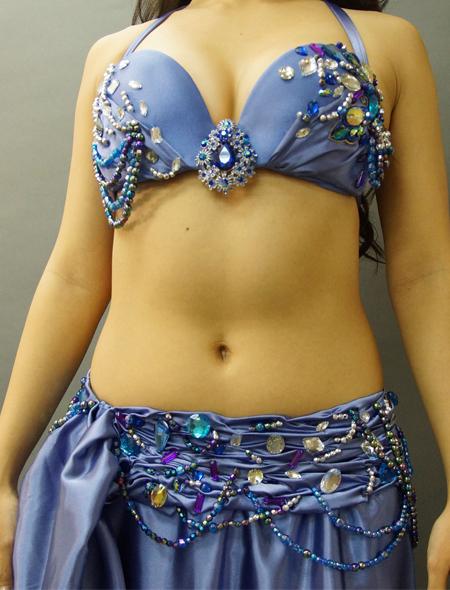 ブルーグレイでドラマティックなベリーダンス衣装2 ミラーナ