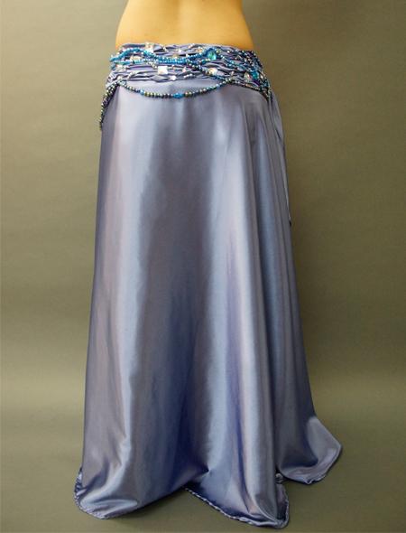 ブルーグレイでドラマティックなベリーダンス衣装3 ミラーナ
