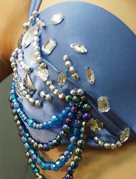 ブルーグレイでドラマティックなベリーダンス衣装 ミラーナ