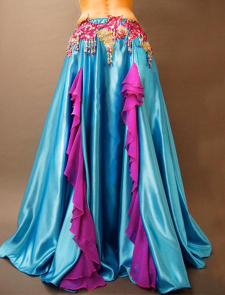 光沢のある水色サテンにパープル。美しい輝きのベリーダンス衣装 スカート