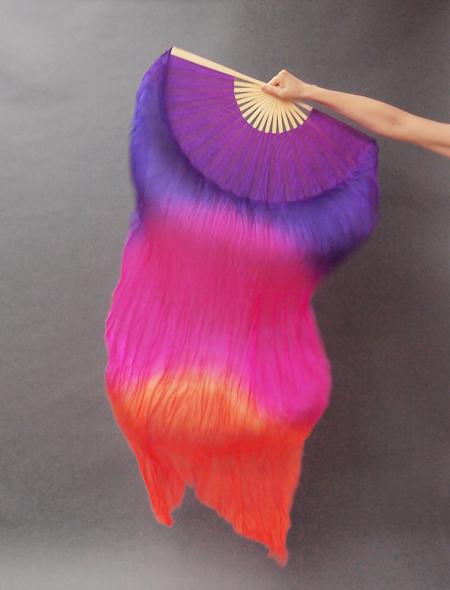 シルクファンベール 紫-ピンク-オレンジ ミラーナベリーダンス衣装