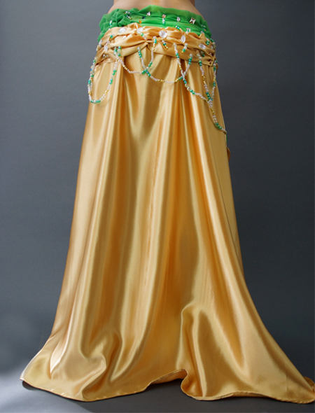 緑がアクセントで目立つ!ゴールドベリーダンス衣装 ミラーナ