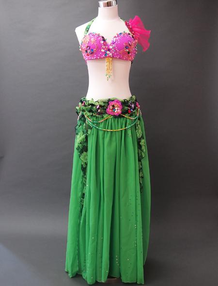 緑花柄衣装1 ミラーナベリーダンス衣装