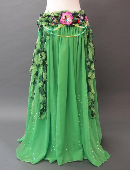 緑花柄衣装3 ミラーナベリーダンス衣装