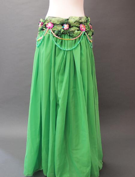 緑花柄衣装5 ミラーナベリーダンス衣装