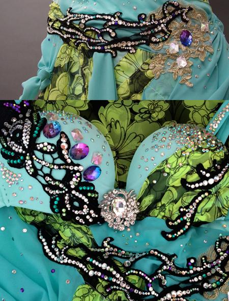 花柄とエメラルドグリーンのベリーダンス衣装2 ミラーナ