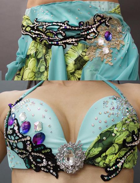 花柄とエメラルドグリーンのベリーダンス衣装3 ミラーナ