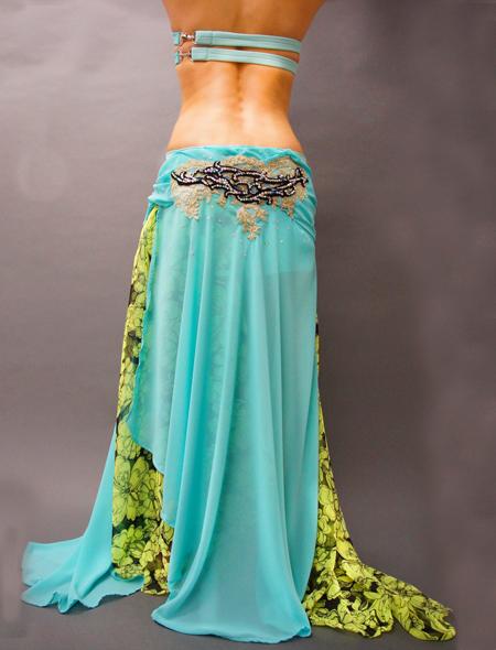 花柄とエメラルドグリーンのベリーダンス衣装 ミラーナ