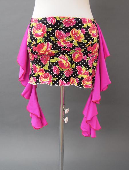 黒ベースピンクフリル花柄ヒップスカーフ衣装2