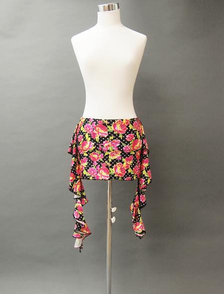 黒に花柄のヒップスカーフ/コインなし MiLLANAベリーダンス衣装