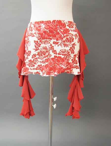 赤フリルとダマスク調の花柄ヒップスカーフ2 MiLLANAベリーダンス衣装