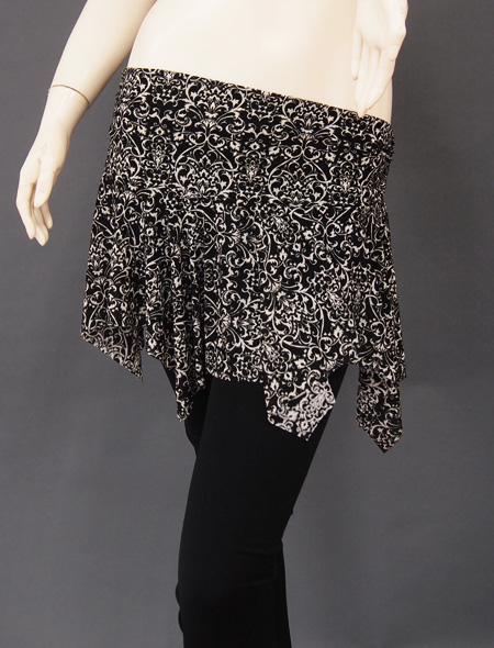 黒ダマスクヒップスカーフ2 ミラーナベリーダンス衣装