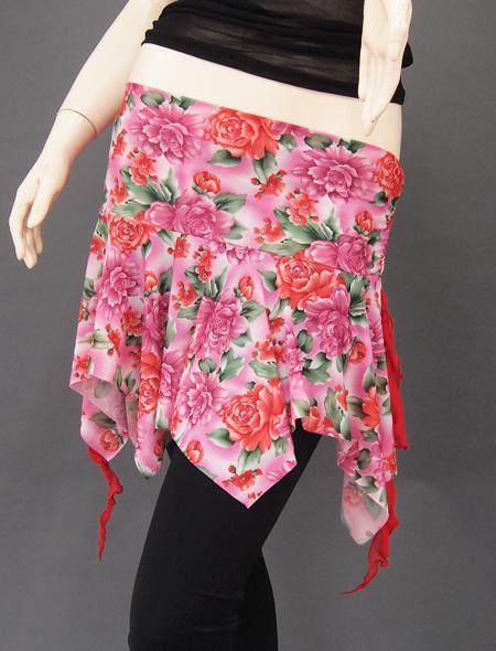 ピンク薔薇ヒップスカーフ ミラーナベリーダンス衣装