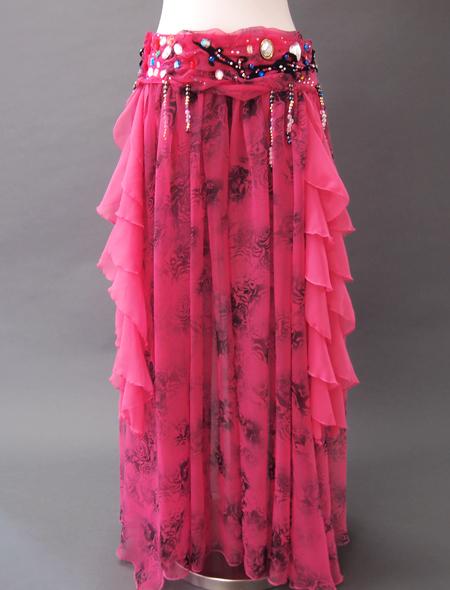 濃いピンク花柄衣装2 ミラーナベリーダンス衣装