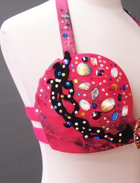 濃いピンク花柄衣装5 ミラーナベリーダンス衣装