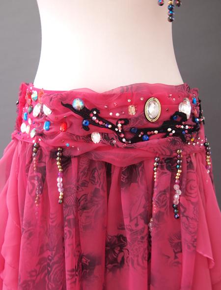 濃いピンク花柄衣装6 ミラーナベリーダンス衣装