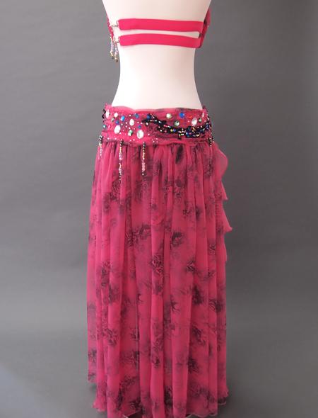 濃いピンク花柄衣装7 ミラーナベリーダンス衣装