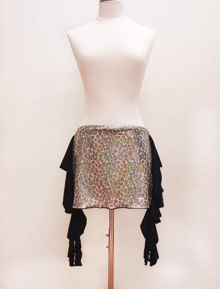 黒ヒョウラメヒップスカーフ1 ミラーナベリーダンス衣装