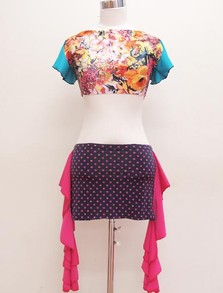 ミントグリーンフリルのトップス2 ミラーナベリーダンス衣装