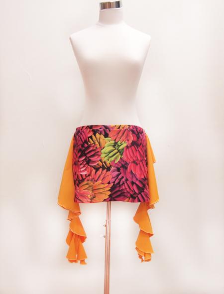 オレンジフリルバナナヒップスカーフ1 ミラーナベリーダンス衣装