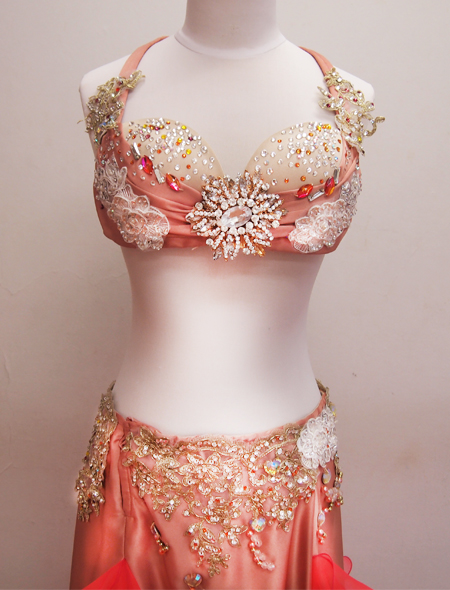 ピンクフリルコスチュー3  ミラーナベリーダンス衣装
