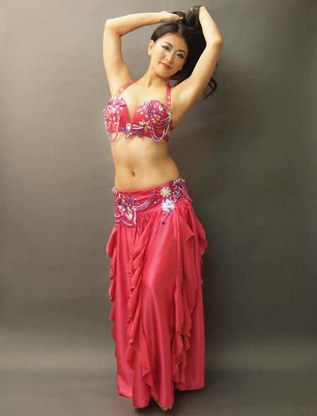 ピンクフリルのベリーダンス衣装3 ミラーナ