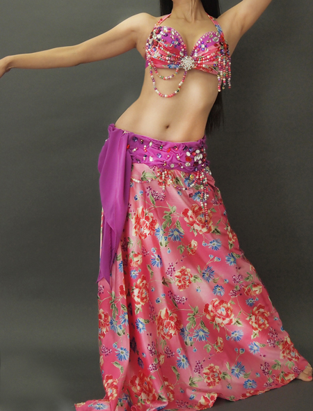 紫とピンクの花柄ベリーダンス衣装1 ミラーナ