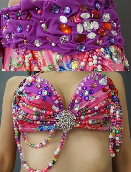 紫とピンクの花柄ベリーダンス衣装2 ミラーナ