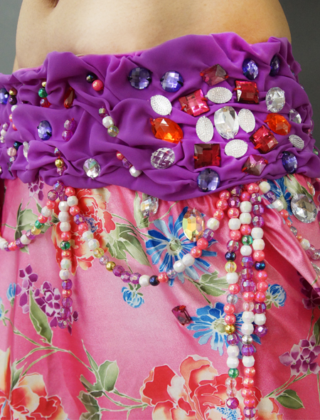 紫とピンクの花柄ベリーダンス衣装3 ミラーナ
