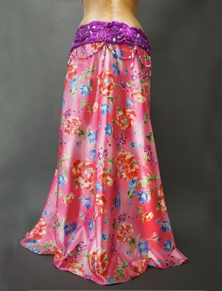 紫とピンクの花柄ベリーダンス衣装 ミラーナ