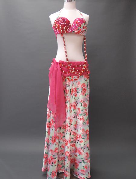 ピンク花柄衣装1 ミラーナベリーダンス衣装