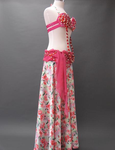 ピンク花柄衣装2 ミラーナベリーダンス衣装