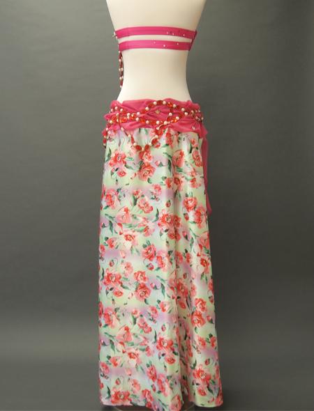 ピンク花柄衣装3 ミラーナベリーダンス衣装