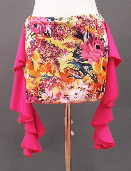 ピンクフリル絵画のようなヒップスカーフ2 ミラーナベリーダンス衣装